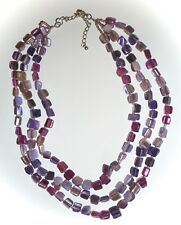 3-STRAND PURPLE-DYED MOTHER-OF-PEARL MULTI-STRAND NECKLACE