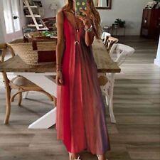 Women Summer Floral V Neck Maxi Dress Sleeveless Boho Suspenders Party Sundress