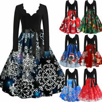 Womens Christmas Midi Swing Dress Ladies Long Sleeve Xmas Party Skater Dresses