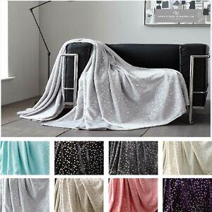 Fleece Blanket Glitter Metallic Throw Geometric Shiny Star Sofa Bed Chair Settee