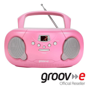 GROOVE BOOMBOX PORTABLE CD PLAYER W/ RADIO/AUX IN/HEADPHONE JACK -PINK - GVPS733