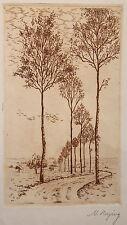 Hermine Minni Herzing Radierung um 1920 Grafik Landschaft Natur Bäume Kunst xz