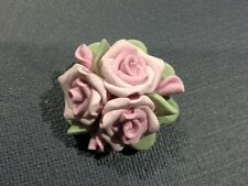 VINTAGE PRETTY PINK ROSES BOUQUET BROOCH FLOWERS FLORAL CAPODIMONTE STYLE J017