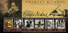 Turks & Caicos 2012 MNH Charles Dickens 200th Birth 6v M/S Writers Stamps