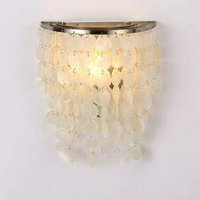 Nature White Capiz Shell Wall Lamp Sconce Satin Nickel Seashell Decor Light