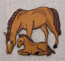 Iron On Embroidered Applique Patch Brown Felt Mare Mother Horse and Colt Baby