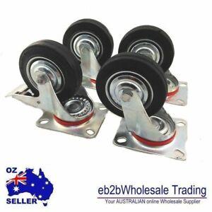 "4P SET HEAVY DUTY RUBBER Caster CASTOR Wheel Swivel Brake Fixed 3"" 4"" OR 5"""