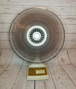 "Vintage Tatung 16"" electric large desk fan 3-speed Oscillating model LB-16 WORKS"
