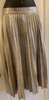 Zara Silver Metallic Accordion Pleated Midi Skirt Faux Suede  - Size SMALL S EUC