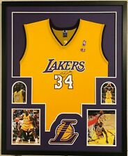 FRAMED L.A. LAKERS SHAQUILLE O'NEAL AUTOGRAPHED SIGNED JERSEY BECKETT COA