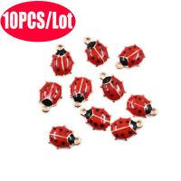 10X Ladybird Ladybug Enamel Charm Pendant 11*9MM For DIY  Earrings & Bracelet