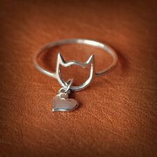CUTE DINKY CAT HEART DANGLE SILVER TONE RING ONE SIZE FIT S-M / 17 CM UK SELLER