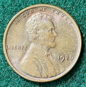 1928 LINCOLN WHEAT EARS ONE CENT TYPE 2 NO VDB COPPER