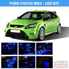 Blu Brillante Interni Auto LED SMD LAMPADINE KIT PER FORD FOCUS II mk2
