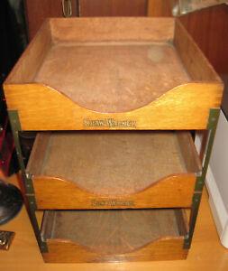 Vintage Antique Shaw Walker Wood 3 Tier In Out Box Desk File Organizer