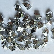 120 METALLIC SILVER ACRYLIC ICE CHUNKS VASE FILLERS WEDDING TABLE SCATTERS