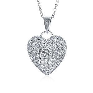 Large Heart Cubic Zirconia CZ Puff Pendant Necklace Sterling Silver