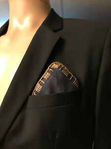 New A.S.W.O.L Men Handmade 100% Cotton Solid Pocket Square With Border/Edge