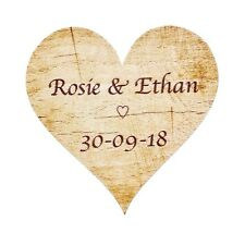 72 x Personalised Wedding Stickers Labels Rustic Love Heart Kraft Favours (SH6)