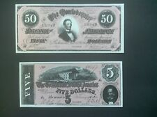 Confederate States $50.00 & $5.00 Currency Reproductions~Nice Color.