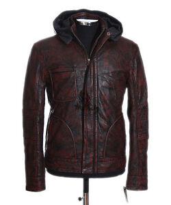 Men's GHOST PROTOCOL Antique Brown Biker Hooded Waxed Lambskin Leather Jacket