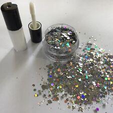 Festival cara/cuerpo/pelo KIT-4ml Pegamento + Estrella de Plata Holográfico Purpurina Pote De 10g