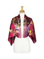 Red Roses Mulberry Satin Silk Stole Women Square Scarf