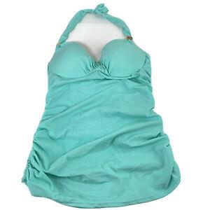 Victorias Secret Unforgettable Demi Tankini Top 34A Solid Blue Underwire Padded