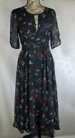 Free People Blue Floral Beachie Boho Ruched Sleeve Flowy Dress Women Size 6