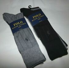 NWT MENS POLO RALPH LAUREN CASUAL DRESS SOCKS~6 PRS~BLACK