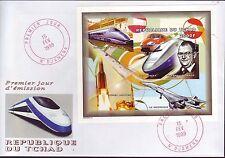 5247+ CONCORDE  + TGV 1er JOUR BLOC    TCHAD  1999  N0N  DENTELE