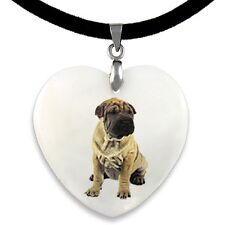 Shar Pei Dog Natural Mother Of Pearl Heart Pendant Necklace Chain Pp232