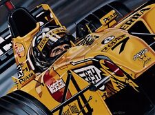 Damon Hill 90 x 70 cms limited edition F1 art print by Colin Carter