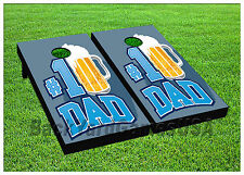 VINYL WRAPS CORNHOLE BEANBAG Fathers Day Number One Dad Blue Boards 935
