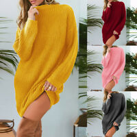 Women Ladies Knitted Round Neck Long Sleeve Sweater Pullover Jumpers Mini Dress
