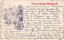CAMERON WISCONSIN PSTMK~SOMETHING DOING AT....~WALTER DUNN ARTIST COMIC POSTCARD