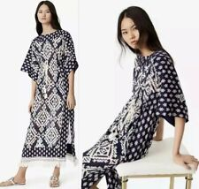 Tory Burch Blue Beatrice Geometric-Print Caftan Dress Size 12 $548