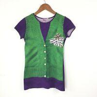 Paul Smith TShirt Top Printed To Look Like Waistcoat Women's Small Purple Green