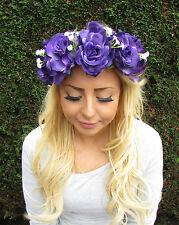 Large Purple White Baby's Breath Gypsophila Rose Flower Garland Headband 2018