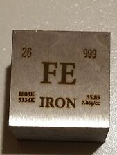 IRON (FE) 9 OZ CUBE-SQUARE 9 OUNCE  99.9% PURE FINE IRON- Periodic Element