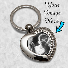 Mummy Baby Scan Heart Metal Keyring Gift Image Daddy Best Mum Mom Mothers Day