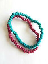 PAIR OF WOOD BEAD BRACELETS, TURQUOISE & PURPLE, APPROX 16cm, GOOD CONDITION