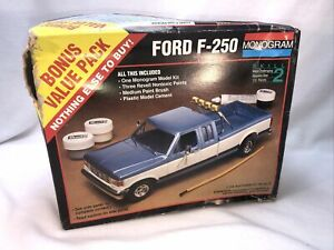 Monogram Ford F-250 pick-up model kit,vintage.1/24. Open Box, Read Description.