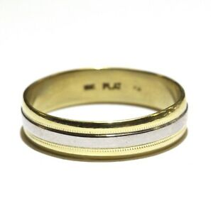 Platinum 18k yellow gold two tone mens wedding band ring 5.2g gents size 12