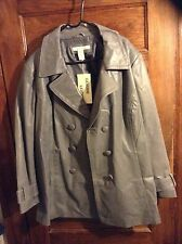 New, Gray, Size 28 genuine leather coat