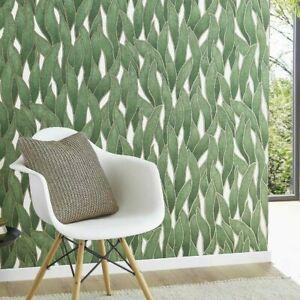 Green, Gold & Cream, Modern Leaf Pattern Wallpaper 07