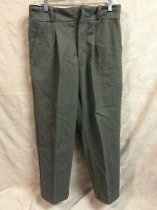 Military Pants 100% Wool Button Fly 32X29 Olive Greenish 4 Pockets hunt logger