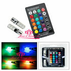 2PCS T10 6SMD 5050 RGB LED Car Wedge Side Light Reading Lamp Bulb 24key Remote