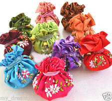 WHOLESALE 10PCS CHINESE HANDMADE SILK EMBROIDERED FLOWERS COSMETIC BAGS PURSE