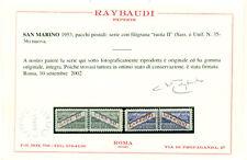 SAN MARINO 1953 PACCHI POSTALI FIL.RUOTA MNH** LUSSO CERT, RAYBAUDI